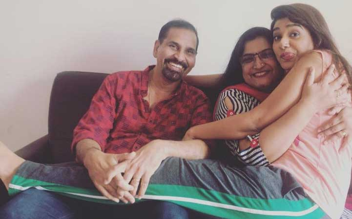 Rasika Sunil With Mother And Father